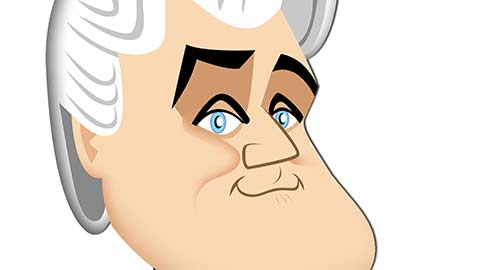 A caricature of Jay Leno